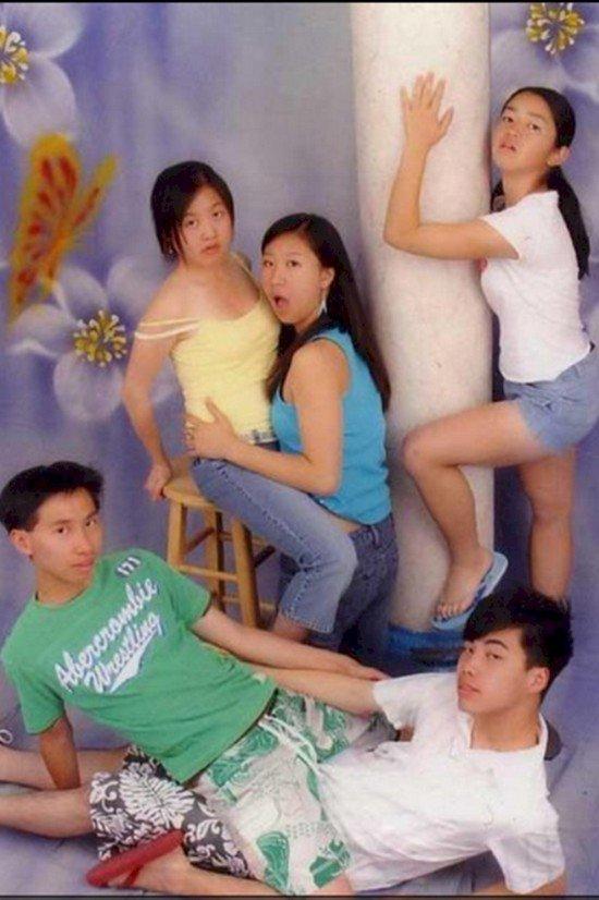 family weird poses