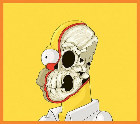 homer simpson skeleton