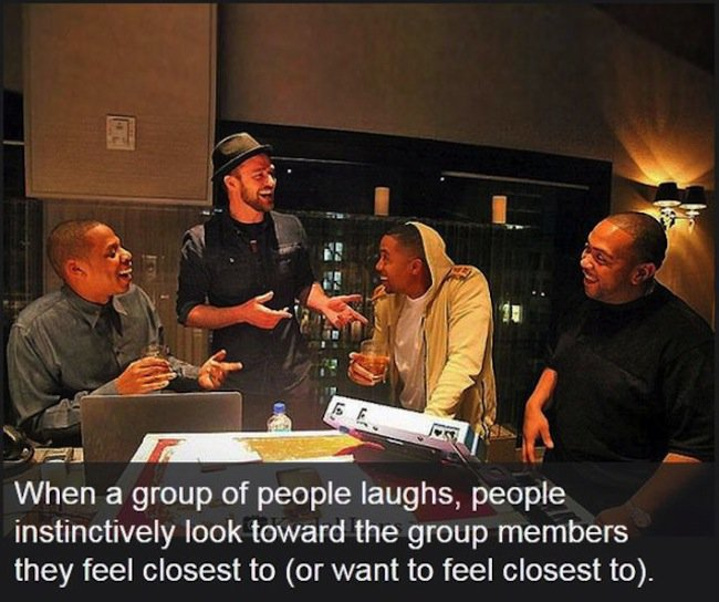 when a group of people laughs people look toward who they feel closest to