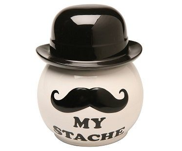 mustache cookie jar