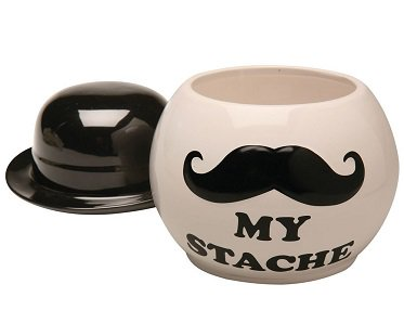 mustache cookie jar hat lid