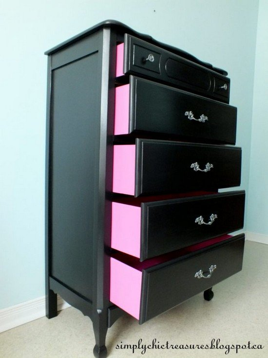 pink black drawers