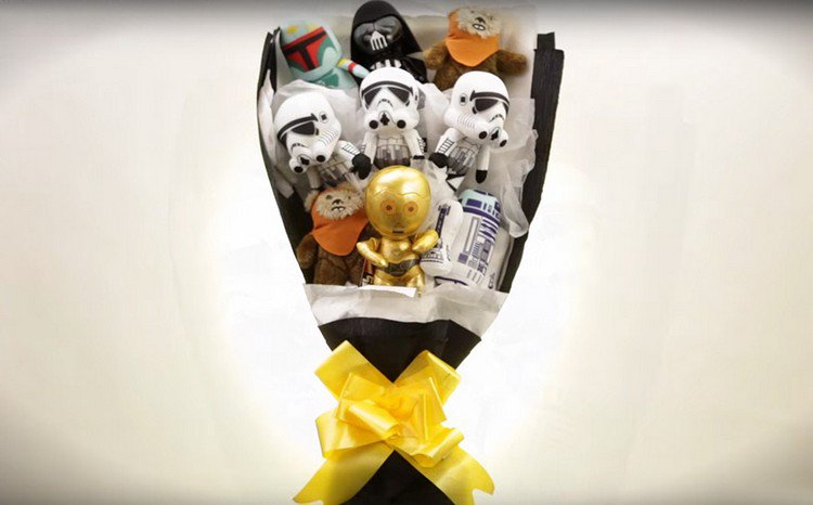 star wars bouquet gold bow