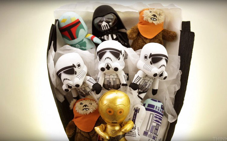 star wars bouquet up close