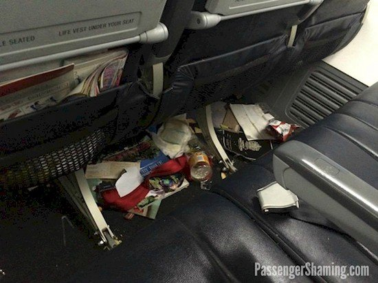 trash on plane