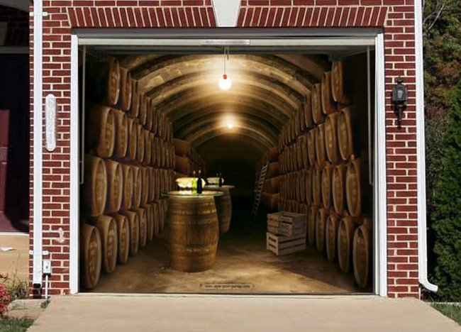 14 creative garage doors to make your house look awesome for Garage wine cellar