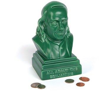 Benjamin Franklin Money Bank green