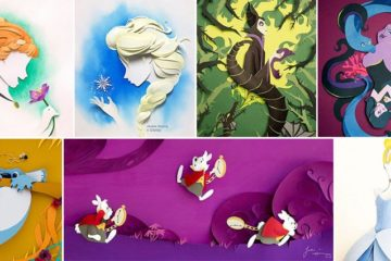 Disney Themed Paper Collages