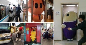 Japanese Mascots Getting Stuck