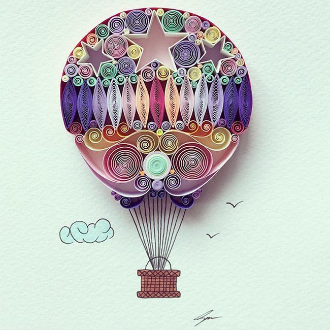 balloon quilled paper