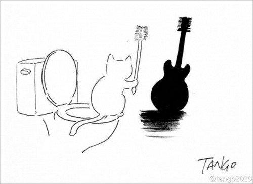 cat toilet guitar