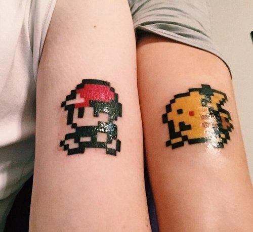 geeky-tattoos-ash-pikachu
