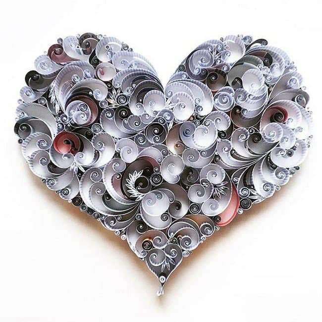 heart quilled paper