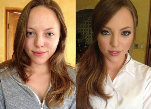 makeup-before-after-ponytail