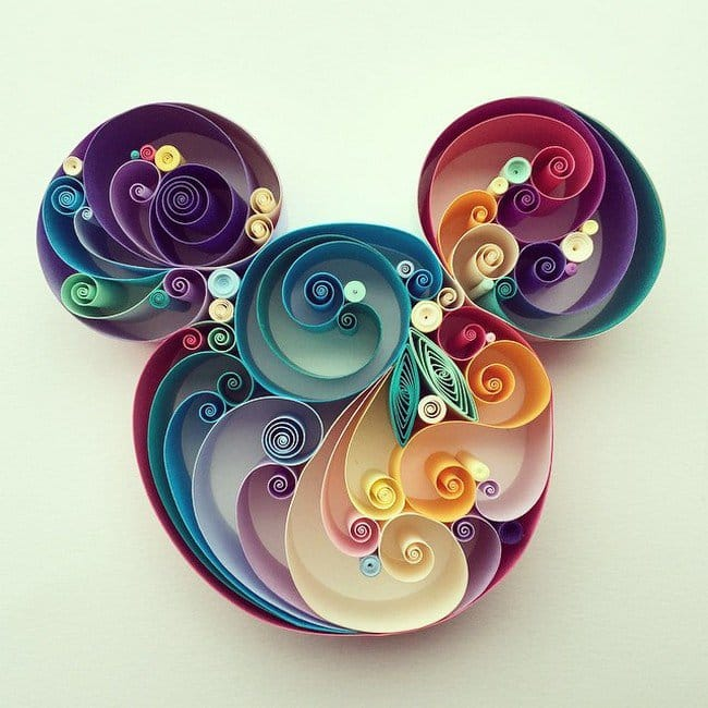 mickey quilled paper