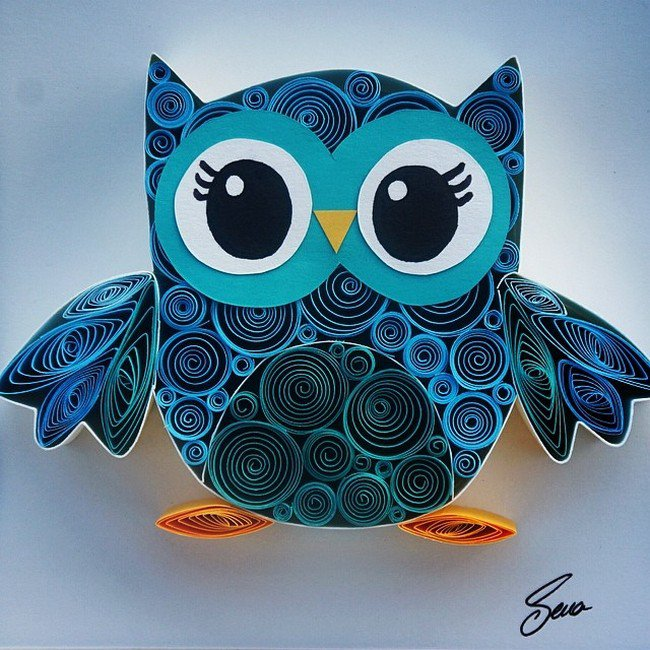 owl quilled paper