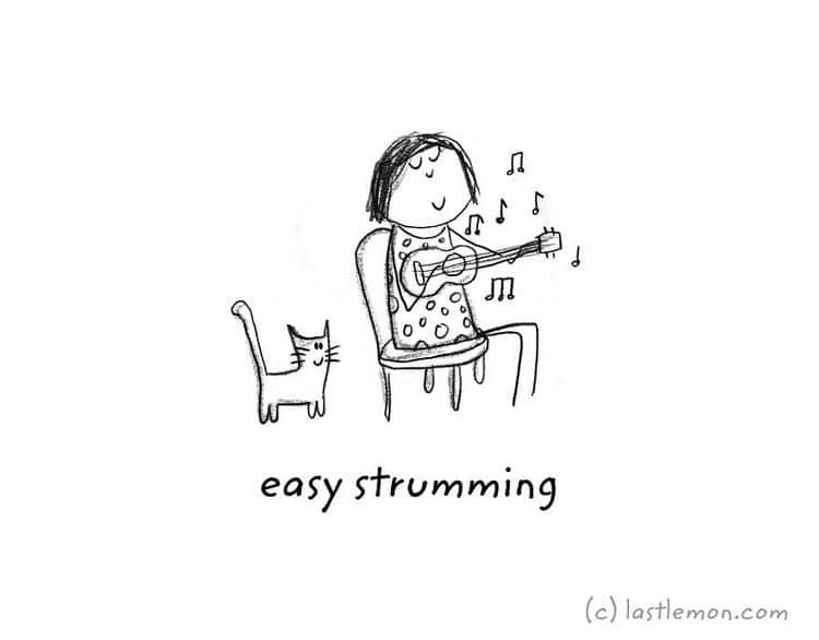 strumming uke
