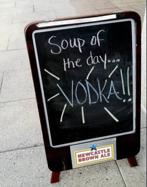 vodka soup sign
