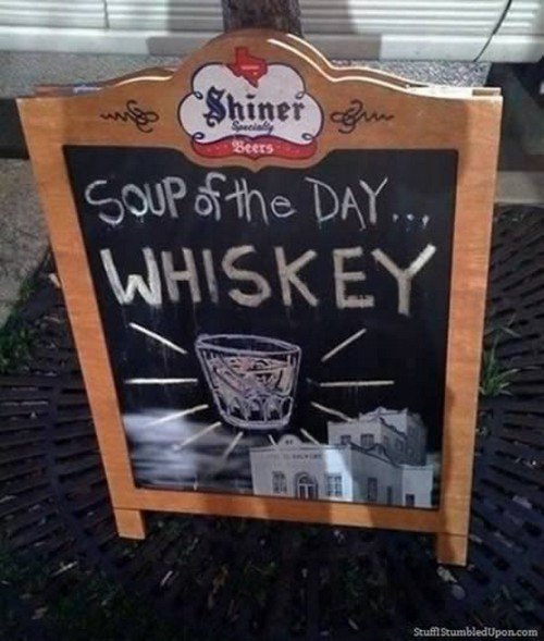whiskey soup sign