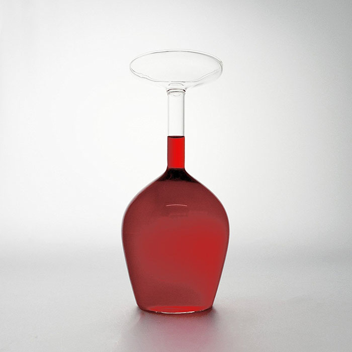 wine glass upside down