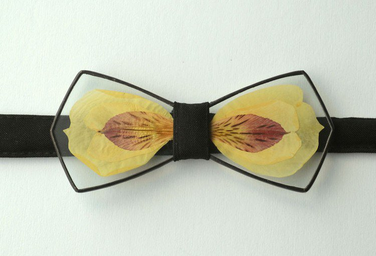 yellow petal bow tie