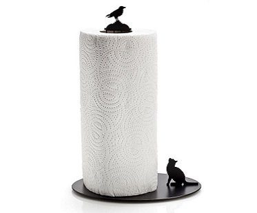 Cat And Crow Paper Towel Holder