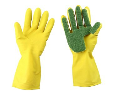 Cleaning Gloves With Sponge Fingers rubber