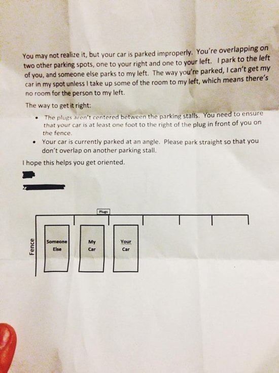 11 Amusing Notes Left For Inconsiderate Parkers