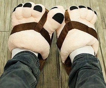 big feet slippers brown