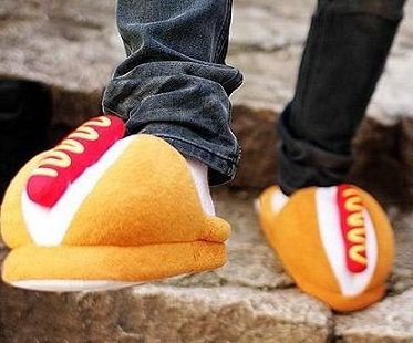 hot dog slippers feet