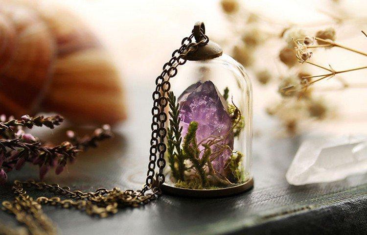purple crystal terrarium