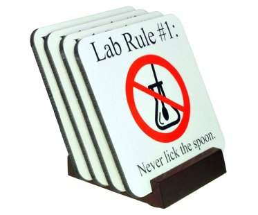 Lab Rules Coaster Set stand