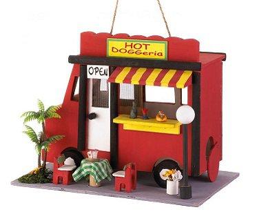 hot dog truck birdhouse garden