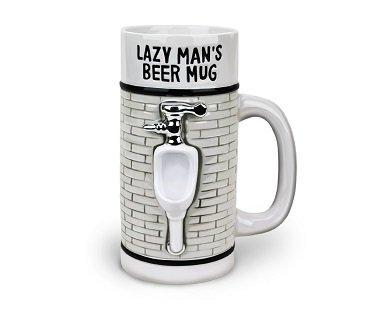 lazy man's beer mug white