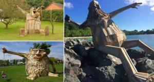 Giant Sculptures Created Scrap Wood
