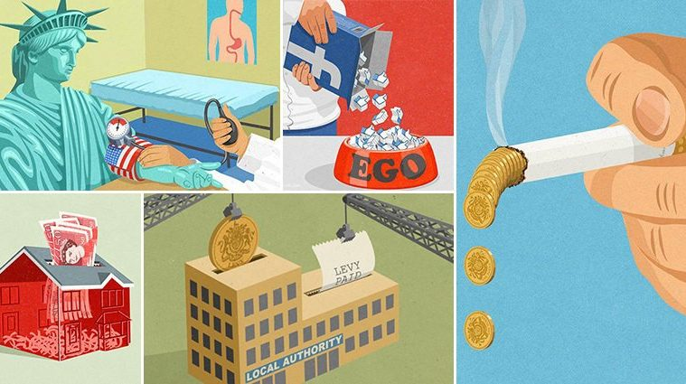 Satirical Illustrations Today's Society