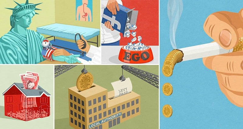 Satirical Illustrations Today's Society