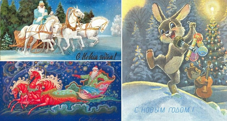 Russian Christmas.These Vintage Russian Christmas Cards Remind Us Of A Simpler