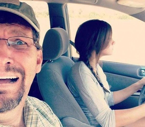 dad scared daughter driving