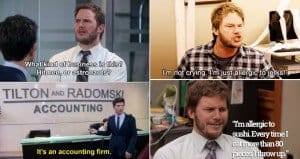 28 times we were all andy from parks and recreation