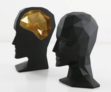 Head And Brain Bookends black gold