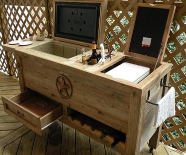 Outdoor Cooler And Grill Prep Cart