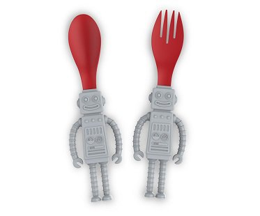 Robot Eating Utensils spoon fork