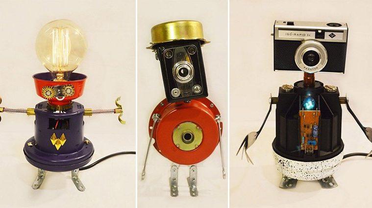 Robot Lamps Scrap Objects