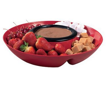 heated chip and dip tray chocolate