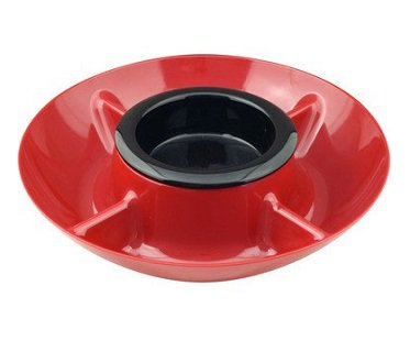 heated chip and dip tray red