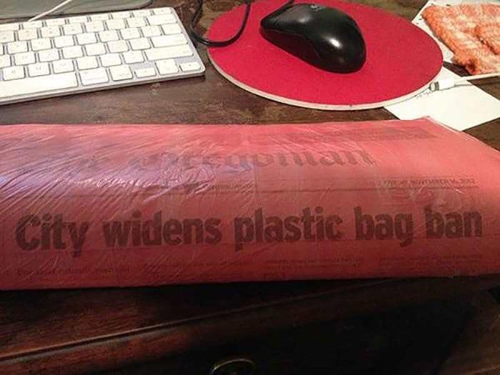 ironic images plastic bag ban