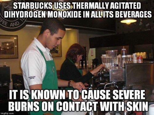 starbucks baristas with water burns