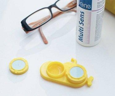 Yellow Sub Contact Lens Case fun