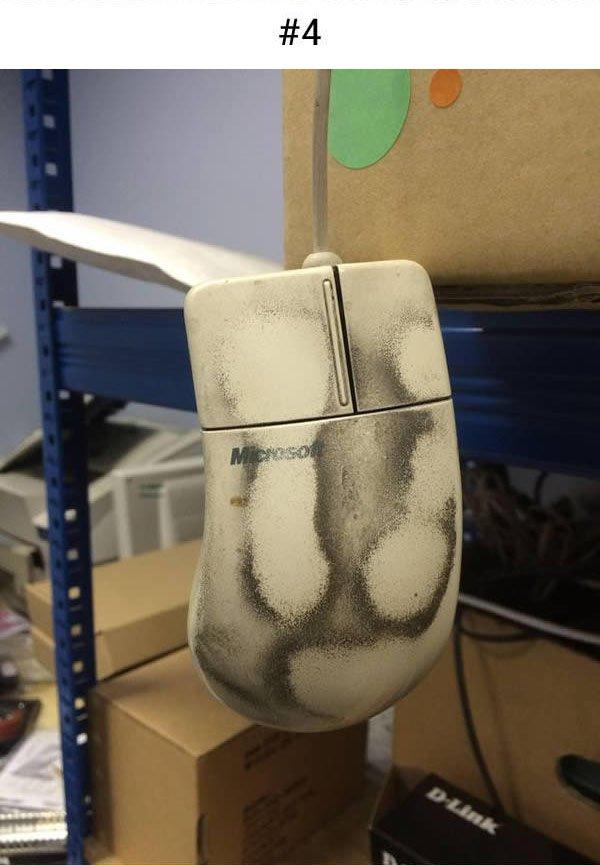 computer mouse built up dirt